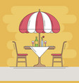 restaurant cafe thin line icon table and chair vector image vector image