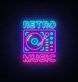 retro music neon sign retro music design vector image vector image