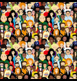 seamless pattern with people vector image vector image
