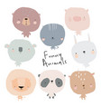set cute cartoon animals on white background vector image