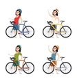 Set of cyclist women vector image
