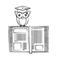 sketch blurred silhouette of owl knowledge with vector image