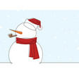 snow man with santa hat continuous line car vector image vector image