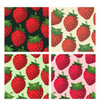 Strawberry seamless pattern set vector image