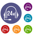 support 24 hours icons set vector image vector image