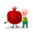 sweet little boy hugging giant pomegranate fruit vector image vector image