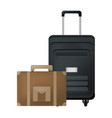 travel suitcase and briefcase journey equipment vector image vector image