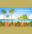 tropical beach island palm tree ocean summer vector image vector image