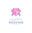 wedding line logo design abstract ring with vector image vector image