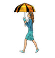 woman with smartphone and umbrella vector image vector image