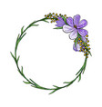 wreath with crocuses and mimosa vector image vector image