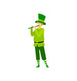 young man in green irish costume playing flute vector image vector image