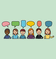 young people with speech bubbles vector image vector image