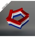 Abstract logo Pentagon as leaves stacked Planks vector image vector image