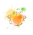 apple in watercolor fruit icon paint splash vector image