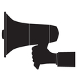 Black silhouette of a megaphone and hand vector image