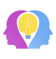brainstorming two heads one brain creative vector image vector image