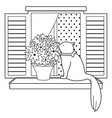cat sitting on a window sill vector image