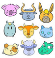 collection animal head cute doodle style vector image vector image