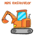 Collection of mini excavator cartoon vector image vector image
