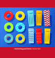 collection pool rafts and rubber rings vector image