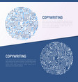 copywriting concept in circle with thin line icons vector image vector image