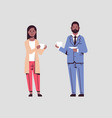 couple businesspeople drinking cappuccino during vector image vector image