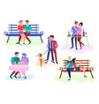 couples on a date and at home vector image