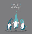 cute gnomes christmas card vector image vector image