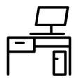 desk line icon workplace vector image vector image