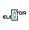 elevator text logo stylized word elevator with vector image