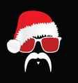 face with mustache with christmas hat vector image vector image
