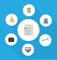 flat icon finance set of chart bank calculate vector image vector image