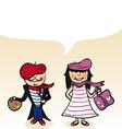 French cartoon couple bubble dialogue vector image vector image