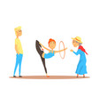 girl doing gymnastics dance with hoop before happy vector image vector image