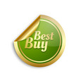 golden and green sticker with lettering best buy vector image vector image