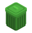 green garbage can icon isometric style vector image vector image