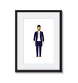groom in a picture frame vector image vector image