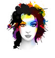 grunge young woman portrait vector image vector image
