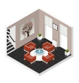 Hall room isometric icon set vector image