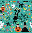 halloween trick or treat green patter vector image