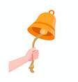 hand ringing bell with rope icon in flat