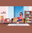 happy pregnant woman sitting on couch reading book vector image