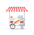hot dog cart with awning mobile street fast food vector image