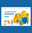 isometric investment risk insurance vector image