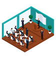 isometric meeting president with voters vector image