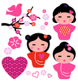 Japan love Geisha and floral elements set vector image vector image