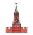 kremlin spasskaya tower red square moscow russia vector image vector image