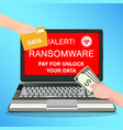laptop computer infected ransomware virus pay vector image