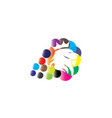 lion head with a crown in multicolor bubbles vector image